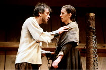 'THE CRUCIBLE' (Miller)~Mark McManus (John Proctor), Lynn Farleigh (Goodwife Elizabeth Proctor)~National Theatre production/Comedy Theatre, London SW1         03/1981