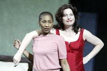 'CRUEL AND TENDER' (Martin Crimp / based on 'Trachiniae' by Sophocles - director: Luc Bondy)~l-r: Georgina Ackerman (Laeia), Kerry Fox (Amelia)~The Young Vic, London SE1                  13/05/2004