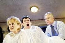 'CUCKOOS' (Manfridi - directors: Peter Hall & Joe Hill-Gibbins)~l-r: Jessica Turner (Beatrice), Mark Rice-Oxley (Tito), David Yelland (Tobia)~BITE:03   The Pit / Barbican Centre, London EC2         24...