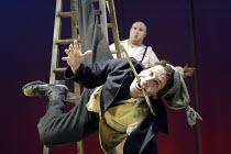 'BEASTS AND BEAUTIES' (Duffy/Still/Supple)~The Husband': Elliot Levey (The Husband) with (rear) Howard Coggins (Cow)~Bristol Old Vic       06/04/2004