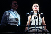 EVITA music: Andrew Lloyd Webber  lyrics: Tim Rice  design: Tim O'Brien & Tazeena Firth  choreography: Larry Fuller  director: Harold Prince ~Joss Ackland (Peron), Elaine Paige (Eva)~Prince Edward The...