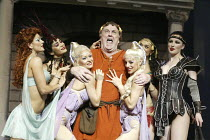 centre: Desmond Barrit (Prologus / Pseudolus) in A FUNNY THING HAPPENED ON THE WAY TO THE FORUM at the Olivier Theatre, National Theatre (NT), London SE1 09/07/2004 ~book: Burt Shevelove & Larry Gelba...