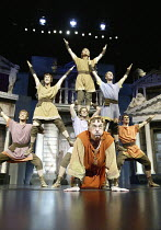 bottom centre: Desmond Barrit (Prologus / Pseudolus) in A FUNNY THING HAPPENED ON THE WAY TO THE FORUM at the Olivier Theatre, National Theatre (NT), London SE1 09/07/2004 ~book: Burt Shevelove & Larr...