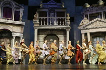 opening number - centre: Desmond Barrit (Prologus / Pseudolus) in A FUNNY THING HAPPENED ON THE WAY TO THE FORUM at the Olivier Theatre, National Theatre (NT), London SE1 09/07/2004 ~book: Burt Shevel...