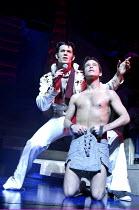 JOSEPH AND THE AMAZING TECHNICOLOR DREAMCOAT  music: Andrew Lloyd Webber   lyrics: Tim Rice <br>~l-r: Trevor Jary (Pharaoh/Simeon), Stephen Gately (Joseph)~New London Theatre, WC2...