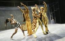 'JUST SO' (after Rudyard Kipling   music: George Stiles   book. lyrics. direction: Anthony Drewe) l-r: Akiya Henry (Zebra), Dean Hussain (Jaguar), Alexis Owen-Hobbs (Giraffe), Simon Greiff (Leopard)...