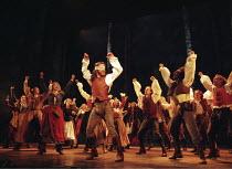 'MARTIN GUERRE' ,(centre, blind-folded) the Imposter returns: Iain Glen (Arnaud du Thil),Prince Edward Theatre, London W1  10/07/1996,