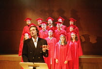 'MERRILY WE ROLL ALONG' (Sondheim)~'Graduation' - fore: Grant Russell ~Donmar Warehouse, London WC2  11/12/2000
