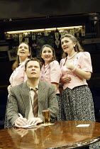 'ME, MYSELF & I' (Alan Ayckbourn / Paul Todd - director: Kim Grant)~Nigel Richards (Reporter) with (l-r) Jacqui Charlesworth (Me), Jessica Martin (Myself), Stephanie Putson (I)~Orange Tree, Richmond...