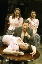 'ME, MYSELF & I' (Alan Ayckbourn / Paul Todd - director: Kim Grant)~front: Stephanie Putson (I) with Nigel Richards (Reporter) and (l-r) Jacqui Charlesworth (Me), Jessica Martin (Myself)~Orange Tree,...