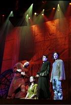 'NOTRE-DAME DE PARIS' (Plamondon/Cocciante) l-r: Garou (Quasimodo), Tina Arena (Esmeralda), Daniel Lavoie (Frollo), Steve Balsamo (Phoebus) Dominion Theatre, London   23 May 2000