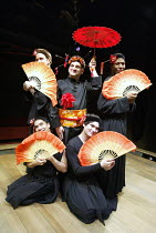 'PACIFIC OVERTURES' (Sondheim/Weidman)   (director: Garry Griffin)~'Welcome to Kanagawa' - rear l-r: Ian McLarnon (Girl), Teddy Kempner (Madam), Cornell John (Girl)~front l-r: Richard Manera (Girl), M...