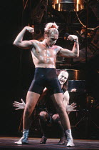 THE ROCKY HORROR SHOW   book, music & lyrics by Richard O^Brien   director: Robin Lefevre,(front) Adam Caine (Rocky), Tim McInnerny (Frank N Furter),Piccadilly Theatre, London SW1     16/07/1990,