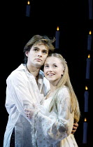 'ROMEO & JULIET - THE MUSICAL' (Presgurvic/Black/Freeman, after Shakespeare)~l-r: Andrew Bevis (Romeo), Lorna Want (Juliet)~Piccadilly Theatre, London W1                04/11/2002