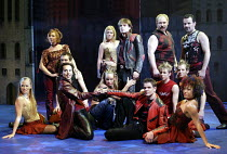 'ROMEO & JULIET - THE MUSICAL' (Presgurvic/Black/Freeman, after Shakespeare)~rear centre: Andrew Bevis (Romeo)~Piccadilly Theatre, London W1                04/11/2002