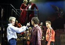 'ROMEO & JULIET - THE MUSICAL' (Presgurvic/Black/Freeman, after Shakespeare)~l-r: Alexis James (Tybalt), Rachid Sabitri (Mercutio), James Dempsey (Benvolio)~Piccadilly Theatre, London W1...