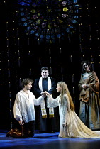 'ROMEO & JULIET - THE MUSICAL' (Presgurvic/Black/Freeman, after Shakespeare)~l-r: Andrew Bevis (Romeo), Svan Stephan (Friar Lawrence), Lorna Want (Juliet), Jane McDonald (Nurse)~Piccadilly Theatre, Lo...