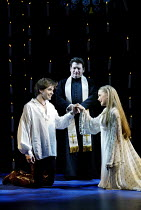 'ROMEO & JULIET - THE MUSICAL' (Presgurvic/Black/Freeman, after Shakespeare)~l-r: Andrew Bevis (Romeo), Svan Stephan (Friar Lawrence), Lorna Want (Juliet)~Piccadilly Theatre, London W1...