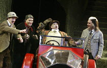 'THE WIND IN THE WILLOWS' (Kenneth Grahame, adapted by Alan Bennett - director: Ian Brown)~l-r: Ben Fox (Rat), Christopher Pizzey (Mole), Malcolm Scates (Toad), Cameron Blakely (Badger)~West Yorkshire...