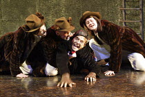 'THE WIND IN THE WILLOWS' (Kenneth Grahame, adapted by Alan Bennett - director: Ian Brown)~l-r: Thomas Frere (Weasel Norman), Ian Conningham (Chief Weasel), Christopher Pizzey (Mole), Lois Naylor (Wea...
