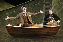 'THE WIND IN THE WILLOWS' (Kenneth Grahame, adapted by Alan Bennett - director: Ian Brown)~l-r: Ben Fox (Rat), Christopher Pizzey (Mole)~West Yorkshire Playhouse, Leeds            18/12/2003