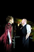 'AN INSPECTOR CALLS' (JB Priestley)~l-r: Diane Fletcher (Mrs Birling), Edward Peel (Mr Birling), Niall Buggy (Inspector Goole)~Playhouse Theatre, London WC2       27/09/2001