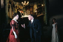 'AN INSPECTOR CALLS' (Priestley)~(rear) Richard Pasco (Mr Birling), Barbara Leigh-Hunt (Mrs Birling), Kenneth Cranham (Inspector Goole)~RNT/Lyttelton Theatre, London  11/09/1992