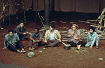 The Ik - l-r: Bruce Myers, Katsuhiro Oida, Malick Bagayogo, Andreas Katsulas, Michele Collison, Miriam Goldschmidt in THE IK at The Roundhouse, London NW1  15/01/1976  adapted from the book 'The Moun...