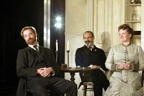'IVANOV' (Chekhov/directed by Katie Mitchell)~l-r: Owen Teale (Nikolai Ivanov), Christopher Hunter (Dmitry Kosykh), Gillian Hanna (Zinaida Savishna)~Cottesloe Theatre / National Theatre, London SE1...