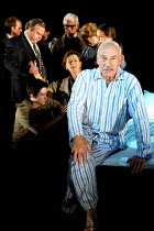 relatives & friends mourn the newly dead Robert Johnson - front right: Patrick Stewart (Robert Johnson) in JOHNSON OVER JORDAN by J.B. Priestley at the West Yorkshire Playhouse, Leeds, England  12/09/...