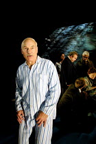 the newly dead Robert Johnson with mourning friends & relatives: Patrick Stewart (Robert Johnson) in JOHNSON OVER JORDAN by J.B. Priestley at the West Yorkshire Playhouse, Leeds, England  12/09/2001...