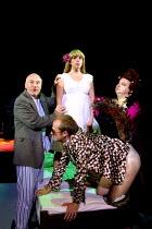 l-r: Patrick Stewart (Robert Johnson), Ken Bradshaw (Charlie), Charlie Hayes (Girl), Nicholas Blane (Madame Vulture) in JOHNSON OVER JORDAN by J.B. Priestley at the West Yorkshire Playhouse, Leeds, En...