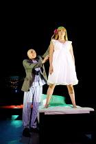 Patrick Stewart (Robert Johnson), Charlie Hayes (Girl) in JOHNSON OVER JORDAN by J.B. Priestley at the West Yorkshire Playhouse, Leeds, England  12/09/2001  ~design: Rae Smith  director: Jude Kelly