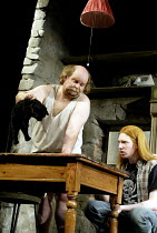 'THE LIEUTENANT OF INISHMORE' (McDonagh)~l-r: Trevor Cooper (Donny), Domhnall (Davy) and the dead cat~Garrick Theatre, London WC2                26/06/2002