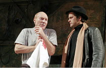 'A LIFE IN THE THEATRE' (Mamet - director: Lindsay Posner),l-r: Patrick Stewart (Robert), Joshua Jackson (John),Apollo Theatre, London W1                    02/02/2005        ,