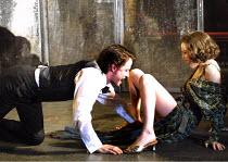 LULU  by Frank Wedekind  design: Robert Howell  director: Jonathan Kent ~Oliver Millburn (Alwa Schoning), Anna Friel (Lulu)~Almeida at King's Cross, London N1  19/03/2001~(c) Donald Cooper/Photostage...