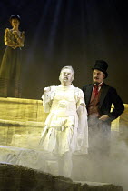'MAN AND SUPERMAN' (G B Shaw   director: Peter Hall)~l-r: Rebecca Hall (Dona Ana), James Laurenson (Statue), William Chubb (Devil)~Theatre Royal Bath             20/07/2004