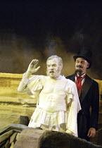 'MAN AND SUPERMAN' (G B Shaw   director: Peter Hall)~l-r: James Laurenson (Statue), William Chubb (Devil)~Theatre Royal Bath             20/07/2004