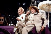 'MAN AND SUPERMAN' (G.B. Shaw)~l-r: Peter O'Toole (John Tanner), James Grout (Roebuck Ramsden)~Theatre Royal Haymarket, London                 1982