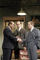 MAN AND BOY by Terence Rattigan - director: Maria Aitken ~l-r: David Suchet (Gregor Antonescu), Will Huggins (David Beeston), Colin Stinton (Mark Herris),Duchess Theatre, London WC2              07/02...