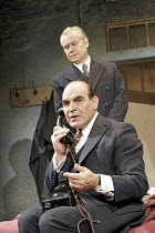 MAN AND BOY by Terence Rattigan - director: Maria Aitken ~David Suchet (Gregor Antonescu), (rear) David Yelland (Sven Johnson),Duchess Theatre, London WC2              07/02/2005        ,