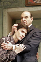 MAN AND BOY by Terence Rattigan - director: Maria Aitken ~l-r: Ben Silverstone (Basil Anthony), David Suchet (Gregor Antonescu),Duchess Theatre, London WC2              07/02/2005        ,