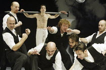 'MESSIAH - Scenes from a Crucifixion' (author/director: Steven Berkoff)~rear centre: Greg Hicks (Christ)~The Old Vic, London SE1                        02/12/2003