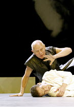 'MESSIAH - Scenes from a Crucifixion' (author/director: Steven Berkoff)~(top) Steven Berkoff (Satan), Greg Hicks (Christ)  ~The Old Vic, London SE1                        02/12/2003