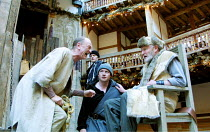 KING LEAR by Shakespeare  design: Hayden Griffin  Master of Play / director: Barry Kyle <br>~left: John McEnery (Fool)   right: Julian Glover (Lear)~Shakespeare's Globe, London SE1  22/05/2001