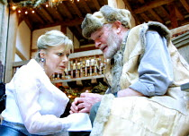 KING LEAR by Shakespeare  design: Hayden Griffin  Master of Play / director: Barry Kyle <br>~Felicity Dean (Regan), Julian Glover (Lear)~Shakespeare's Globe, London SE1  22/05/2001