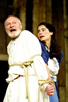 KING LEAR by Shakespeare  design: Hayden Griffin  Master of Play / director: Barry Kyle <br>~Julian Glover (Lear), Tonia Chauvet (Cordelia)~Shakespeare's Globe, London SE1  22/05/2001