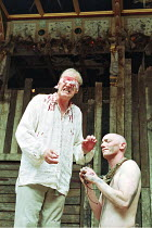 KING LEAR   by Shakespeare   director/^Master of Play^: Barry Kyle,Gloucester blinded - l-r: Geoffrey Whitehead (Gloucester), Paul Brennan (Edgar/Poor Tom),Shakespeare's Globe, London SE1...