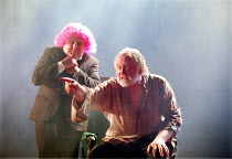 'KING LEAR' (Shakespeare)~l-r: Anthony O'Donnell (Fool), Oliver Ford-Davies (King Lear)~Almeida at King's Cross / London N1     12/02/2002