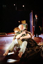 'KING LEAR' (Shakespeare)~l-r: Nancy Carroll (Cordelia), Oliver Ford-Davies (King Lear), Paul Shelley (Duke of Albany)~Almeida at King's Cross / London N1     12/02/2002